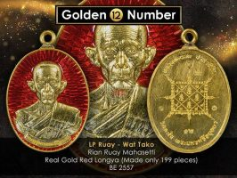 #R127 – LP Ruay Wat Tako – Rian Ruay Mahasetthi Code 12 – Real Full Gold With Red Longya