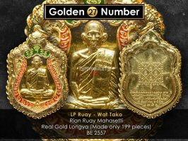#R126 – LP Ruay Wat Tako – Rian Ruay Mahasetthi Code 27 ( Real Full Gold With Red and Green Longya 纯黄金龙呀)